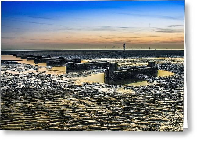 Crosby Greeting Cards - Crosby Beach at dusk Greeting Card by Paul Madden