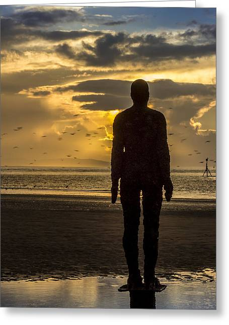Crosby Greeting Cards - Crosby Beach golden skies Greeting Card by Paul Madden