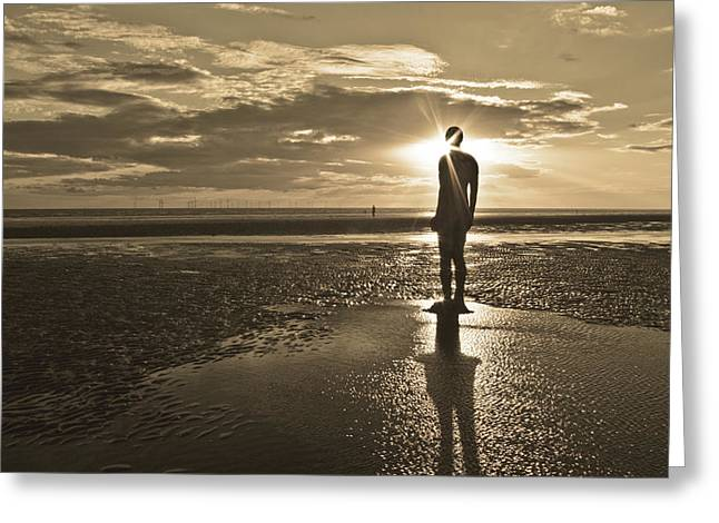 Storm Prints Greeting Cards - Crosby Beach Sepia Sunset Greeting Card by Paul Madden