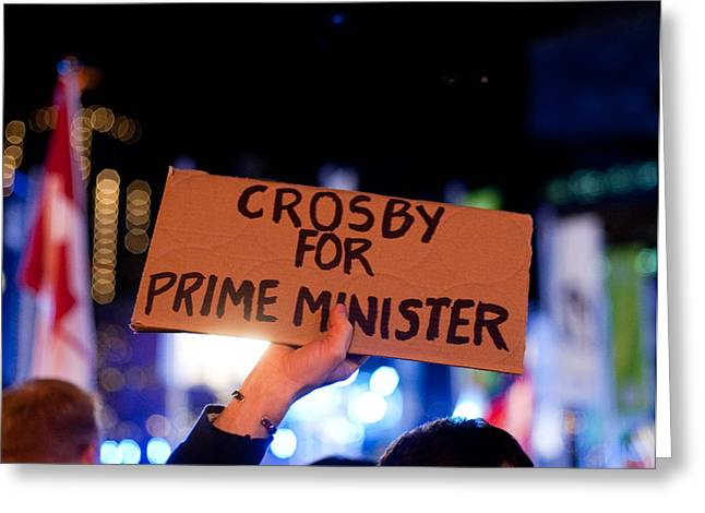 Sidney Crosby Greeting Cards - Crosby for Prime Minister Greeting Card by Colin Sands