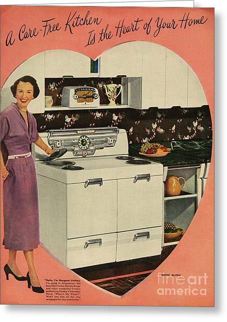 Twentieth Century Greeting Cards - Crosleys  1950s Uk Cookers Kitchens Greeting Card by The Advertising Archives