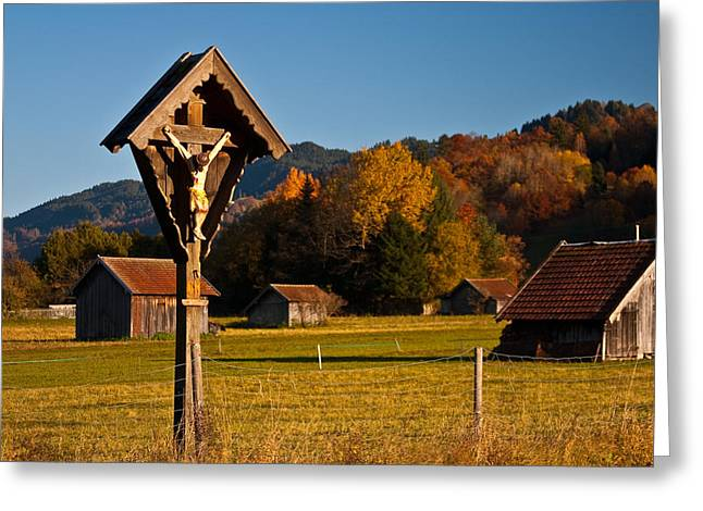 Wayside Cross Greeting Cards - Cross 1 Greeting Card by Corinna Stoeffl