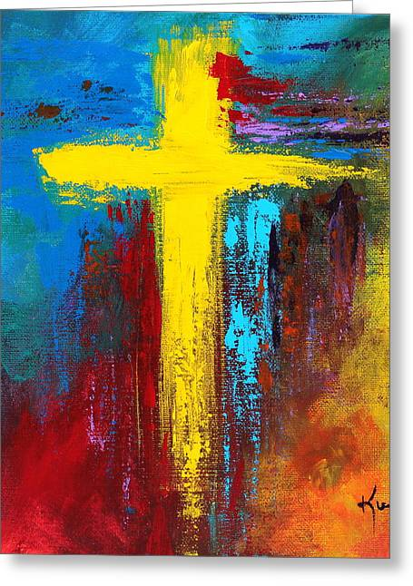 Recently Sold -  - Abstractions Greeting Cards - Cross 2 Greeting Card by Kume Bryant