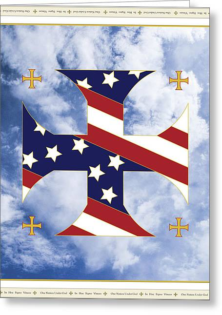 Vince Digital Greeting Cards - Cross and Flag One Nation Under God Greeting Card by Signo Vinces Design
