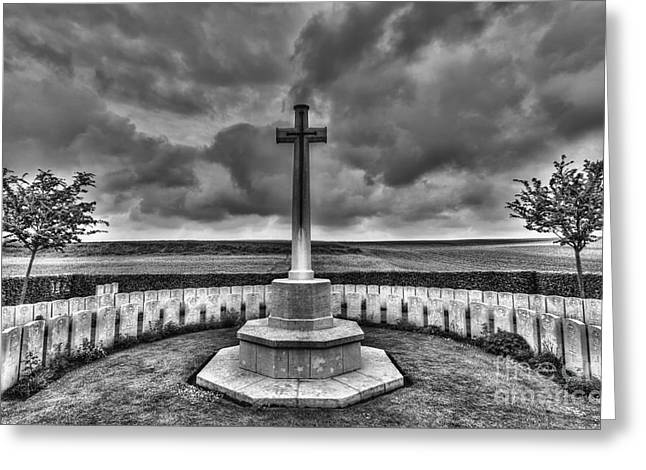 Senseless Greeting Cards - Cross and Graves Greeting Card by Colin Woods