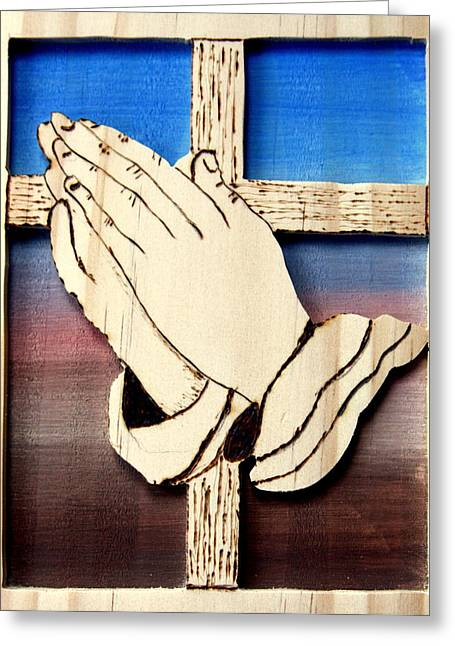 Praying Hands Greeting Cards - Cross and hands Greeting Card by Bill Fugerer