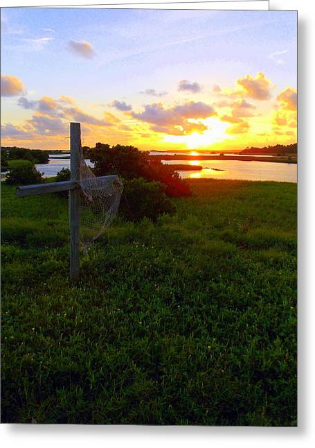 Cedar Key Greeting Cards - Cross and Sunset at Cedar Key Greeting Card by Sheri McLeroy