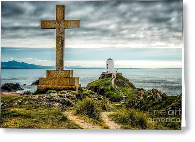 Lighthouse Digital Greeting Cards - Cross at Llanddwyn Island Greeting Card by Adrian Evans