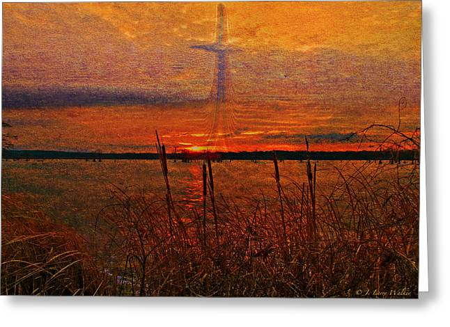 Sunrise Digital Art Greeting Cards - Cross At Sunrise Greeting Card by J Larry Walker