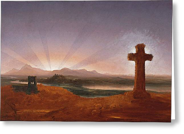 Thomas Cole Greeting Cards - Cross at Sunset Greeting Card by Thomas Cole