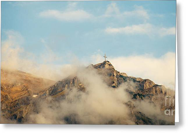 Sacramental Greeting Cards - Cross at the top of a mountain  Greeting Card by Soyhan Erim