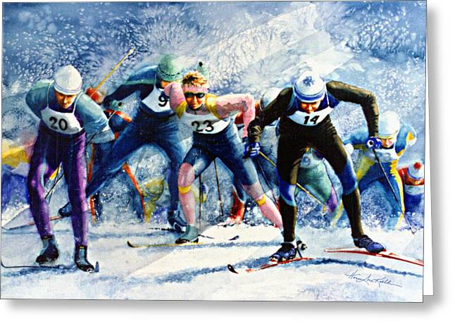 Sport Artist Greeting Cards - Cross-Country Challenge Greeting Card by Hanne Lore Koehler