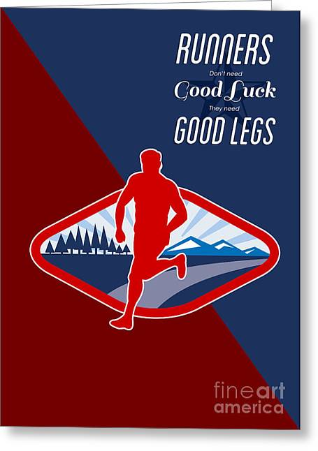 Physical Fitness Greeting Cards - Cross Country Runner Retro Poster Greeting Card by Aloysius Patrimonio