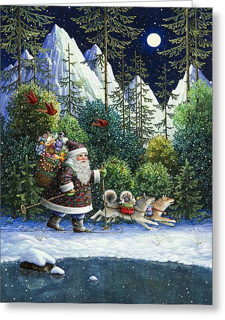 Sled Dogs Greeting Cards - Cross-Country Santa Greeting Card by Lynn Bywaters