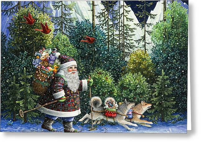 Cross-Country Santa Greeting Card by Lynn Bywaters