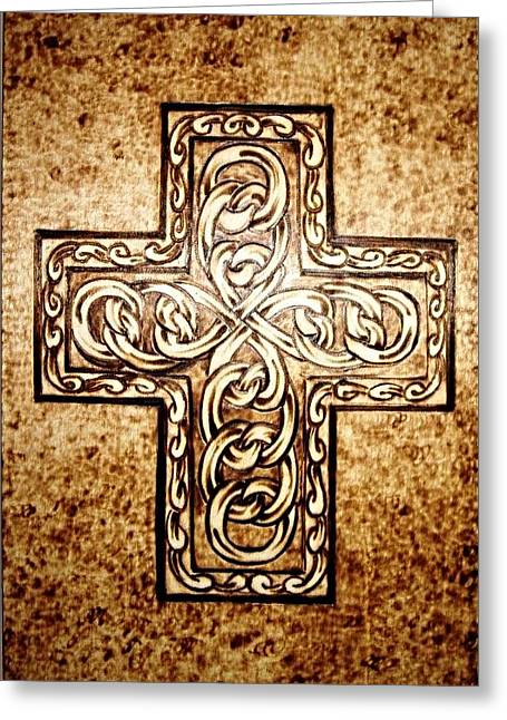 Crosses Pyrography Greeting Cards - Cross Greeting Card by G S