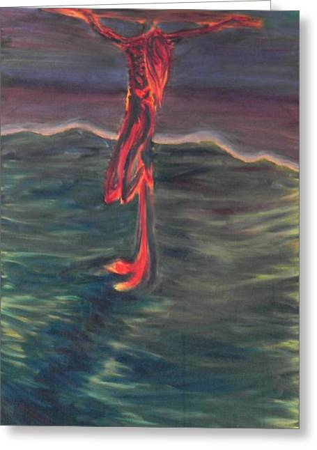 Christ Walking On Water Greeting Cards - Cross Impression 1 Greeting Card by Mark Minier