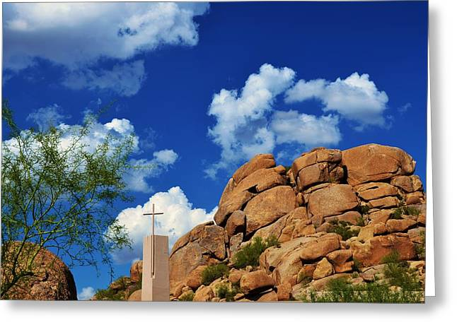 Christain Cross Greeting Cards - Cross in Boulders Greeting Card by Richard Jenkins