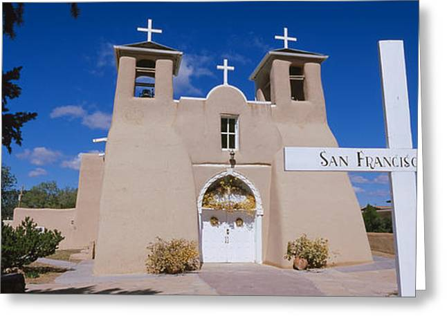 Entrance Door Greeting Cards - Cross In Front Of A Church, San Greeting Card by Panoramic Images