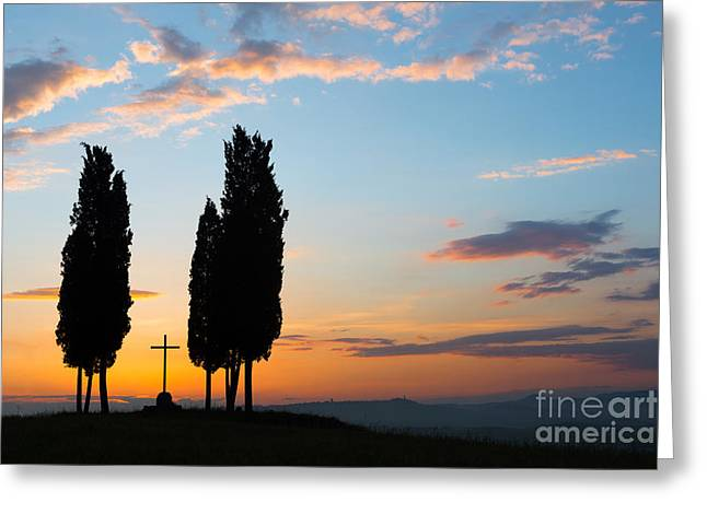 Tuscan Sunset Greeting Cards - Cross in Tuscany Greeting Card by Anneke Schram