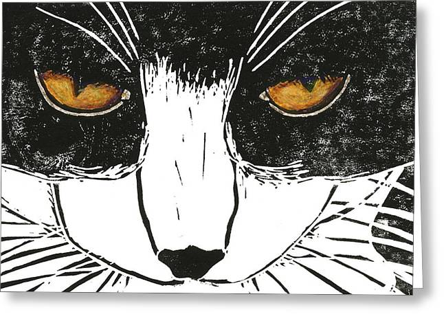 Lino Paintings Greeting Cards - Cross Kitty Greeting Card by Kerrie  Hubbard