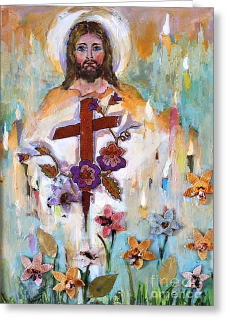 Cross Of Christ Greeting Card by Mary Spyridon Thompson