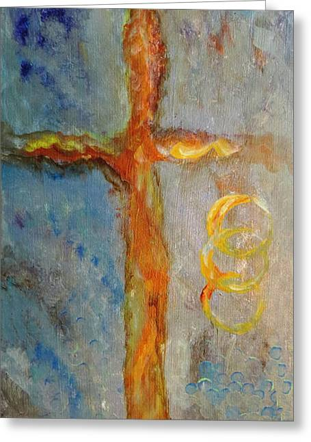 Crucifix Art Drawings Greeting Cards - Cross of Endless Love Greeting Card by Ella Kaye Dickey