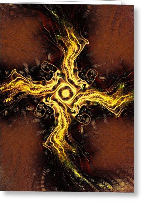 Religious Mixed Media Greeting Cards - Cross of Light Greeting Card by Anastasiya Malakhova