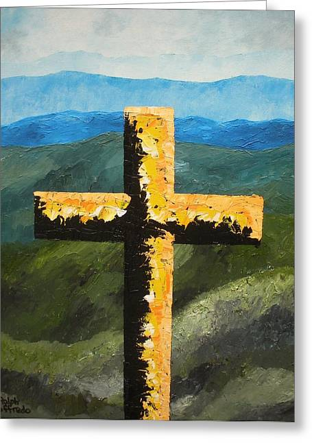 Smokey Mountains Paintings Greeting Cards - Cross Of The Mountain Ridges Greeting Card by Ralph Loffredo