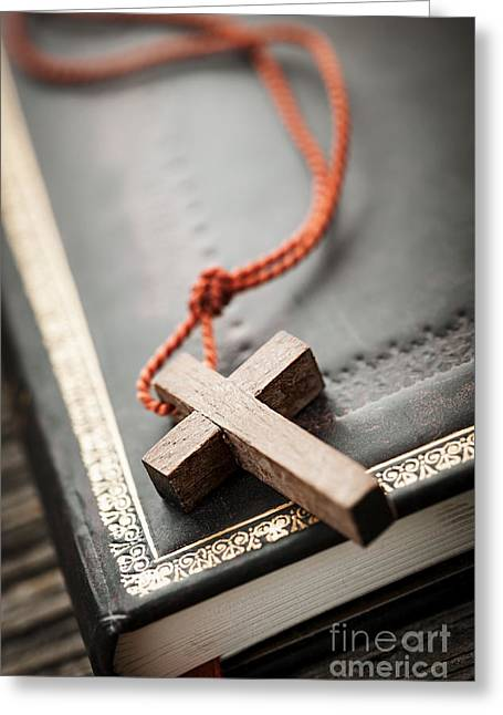 Gold Necklace. Greeting Cards - Cross on Bible Greeting Card by Elena Elisseeva