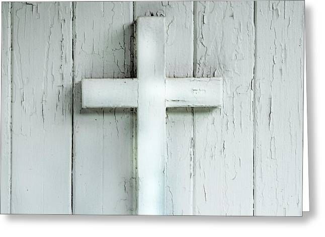 Saint Hope Greeting Cards - Cross on Holy Angels Sugar Island Michigan Greeting Card by Evie Carrier