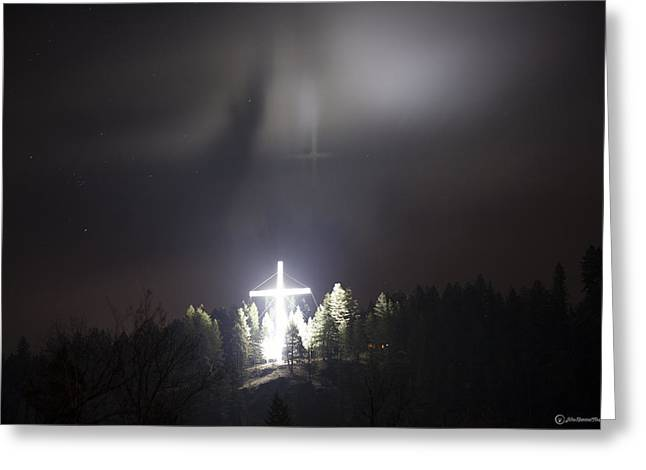 """peace Love Sign"" Greeting Cards - Cross on the Fog Greeting Card by John Harwood"