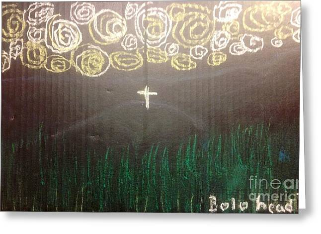 Jesus Pastels Greeting Cards - Cross on the mountain Greeting Card by Willard Hashimoto