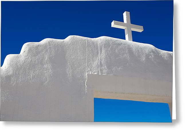 Gateway Church Greeting Cards - Cross on White Church Greeting Card by Marilyn Hunt