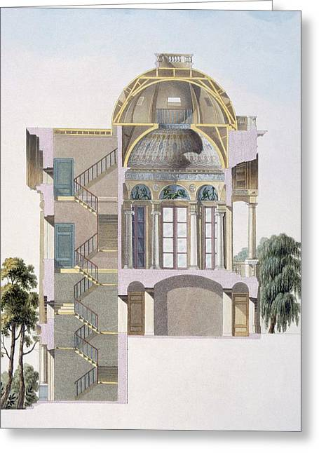 Neo Greeting Cards - Cross Section Of The Pavilion Greeting Card by Pierre Jacques Goetghebuer