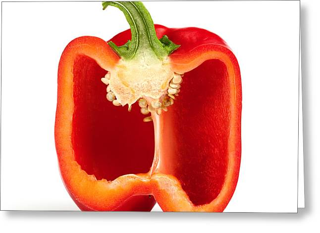 Lifestyle Photographs Greeting Cards - Cross section pepper Greeting Card by Johan Swanepoel