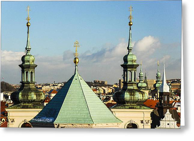 Copper Patina Greeting Cards - Cross Spires Greeting Card by David Waldo