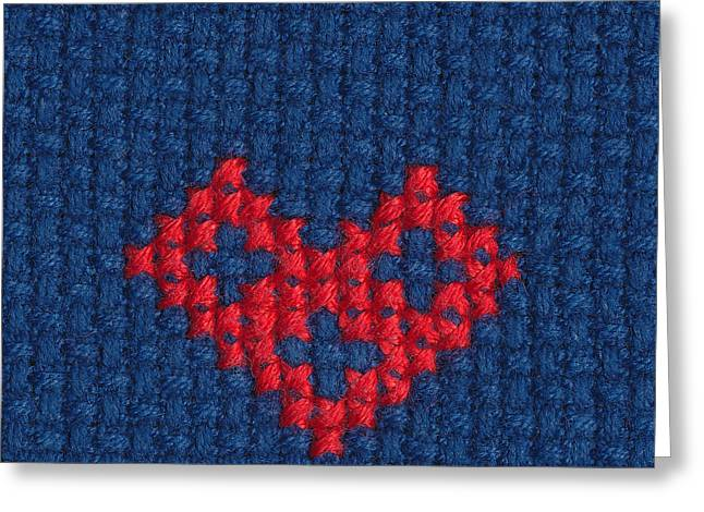 Cross Tapestries - Textiles Greeting Cards - Cross-stitched heart Greeting Card by Kerstin Ivarsson