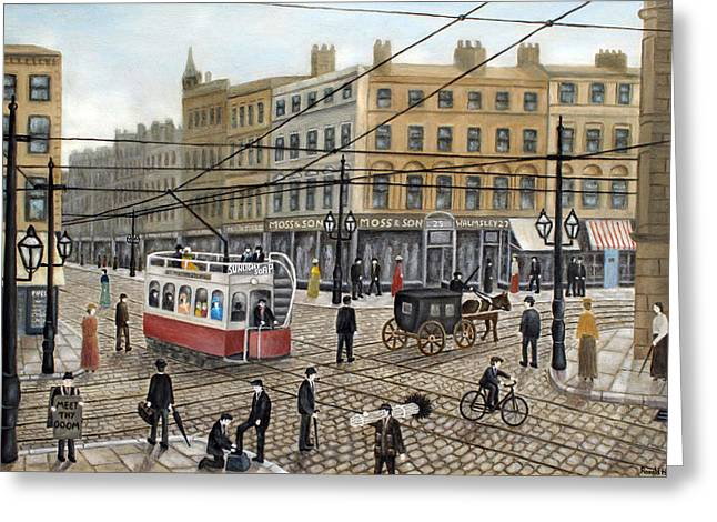 Hansom Greeting Cards - Cross Street Manchester - 1910 Greeting Card by Ronald Haber