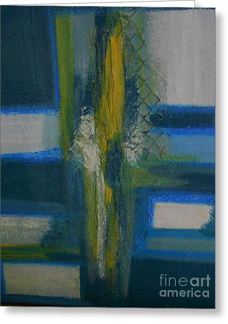 Blue Abstracts Greeting Cards - Cross Greeting Card by Suzanne Thomas
