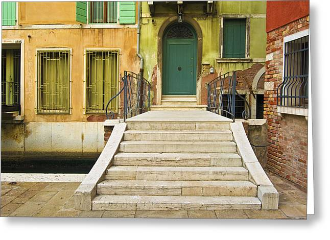 Venice - Italy Greeting Cards - Cross the Canal to the Green Door Greeting Card by Douglas Girard