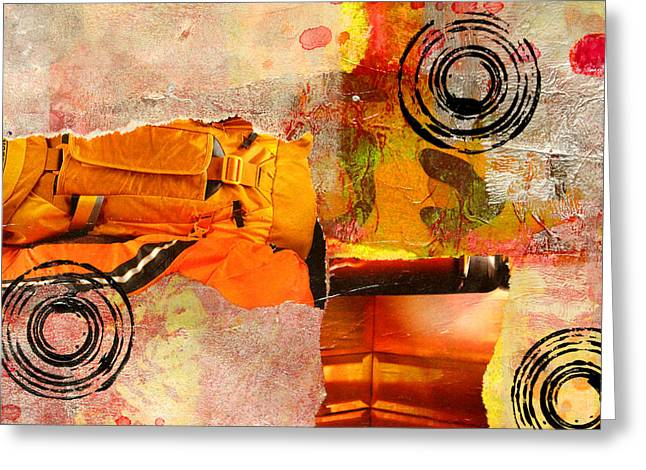 Town Mixed Media Greeting Cards - Cross Town Bus Abstract Collage Painting Greeting Card by Nancy Merkle