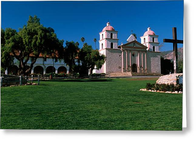 Mission Santa Barbara Greeting Cards - Cross With A Church In The Background Greeting Card by Panoramic Images