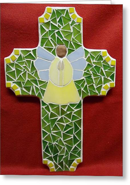 Angels Glass Greeting Cards - Cross with Angel Greeting Card by Fabiola Rodriguez