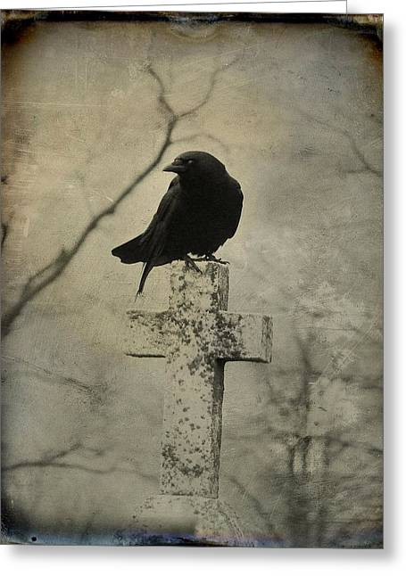Crow Art Greeting Cards - Cross With Crow Greeting Card by Gothicolors Donna Snyder