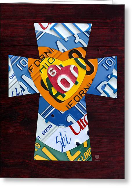 Indiana Mixed Media Greeting Cards - Cross with Heart Rustic License Plate Art on Dark Red Wood Greeting Card by Design Turnpike