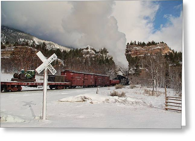 Engine House Greeting Cards - Crossbucks and Steam Greeting Card by Ken Smith