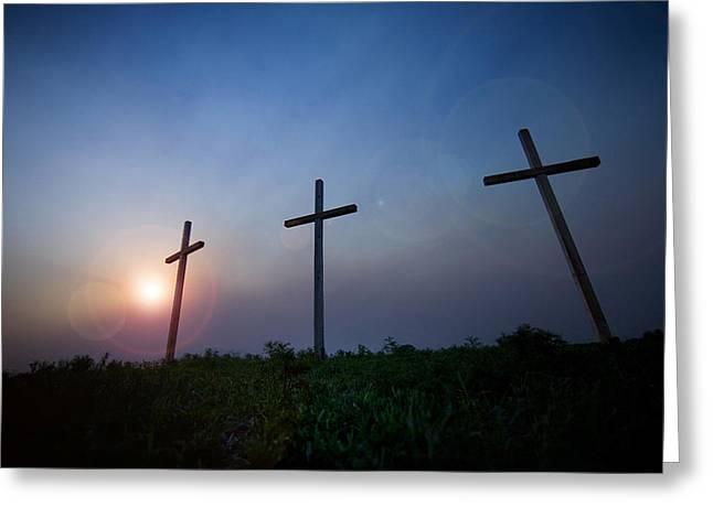 Crosses Three Greeting Card by Jeff Klingler