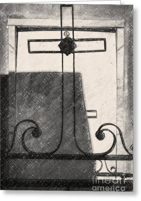 Crosses Voided Wrought Iron _ Nola Greeting Card by Kathleen K Parker