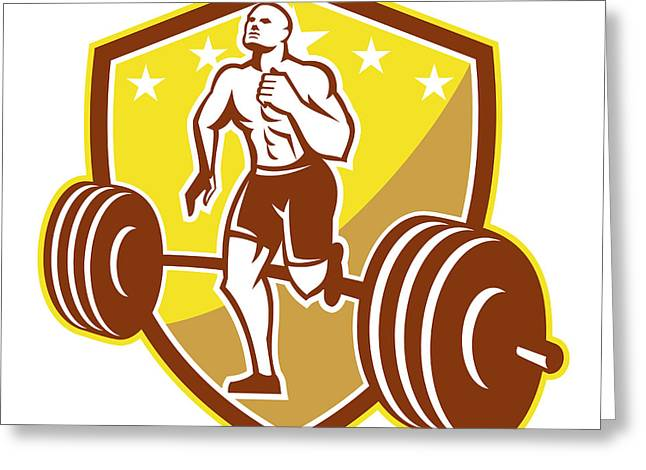 Crossfit Athlete Runner Barbell Shield Retro Greeting Card by Aloysius Patrimonio